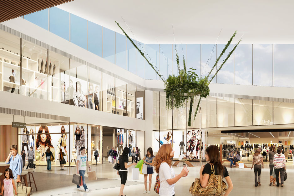 Extension du Centre commercial des 3 Fontaines, perspective de l'intérieur du centre - © Hammerson