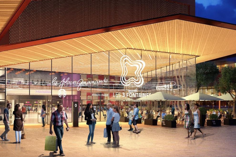 Centre commercial des 3 Fontaines, perspective du futur pôle restauration - © Hammerson