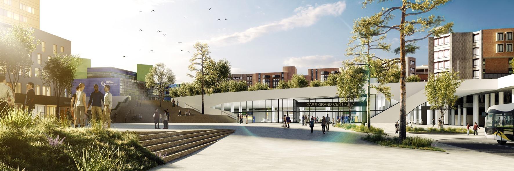 Projection du futur parvis de la gare de Cergy-Préfecture