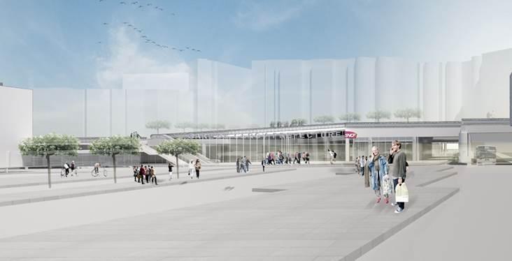 Perspective du pôle gare Cergy Préfecture © Gare et connexions